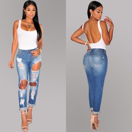 Wholesale American Style Womens Ripped Jeans With Big Holes Wshed Frayed Casual Jeans Hot Denim Capris Pants BSF0341