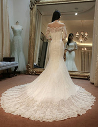 Luxury Style Mermaid Wedding Dresses Off Shoulder Half Sleeve Beaded Lace Bridal Gowns vestido de noiva Custom Size W073