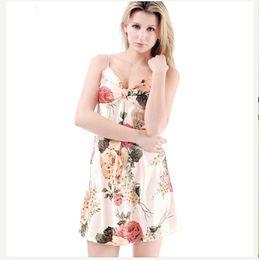 Sexy Women Vintage Robe Summer Floral Print Sling Sleeveless Nightdress Ladies Silk Stain Pajamas Deep V Brides Camis Nightgowns Sleepwear