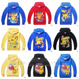 Wholesale Kids Poke Go Coat Pikachu Hoodies Pocket Jacket Monster Outwear Poke Ball Jumper Fashion Sweater Cartoon Pullover Poke Sweatshirts B910