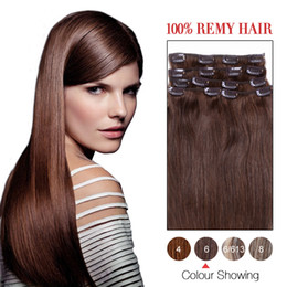Hot Sale Human Hair Wefts Indian Silky Straight Clip In Hair Extensions #6 Color 7Pcs Set Remi Hair