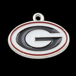 Wholesale Enamel Sporty NCAA Logo Charms University Georgia Bulldogs Sign Alloy Charms AAC409