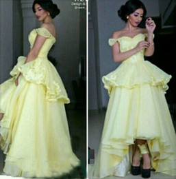 2016 Prom Dresses A-line Juliet Off-the -Shoulder Yellow Hi-Lo Peplum Ruffles Beaded Appliques Sexy Back Graduation Gowns