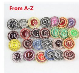 20mm mix color English letter from A- Z oil rhinestone snap button noosa button circle button diy handmade NOOSA chunks snap button jewelry