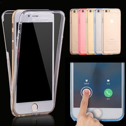 Promotion écran tactile pour samsung Soft TPU Transparent 360 Boîtier de protection complet pour Iphone 7 6 6S Plus Samsung S7 S6 Edge Plus Remarque 7 5 4 Écran tactile avant + Couverture arrière