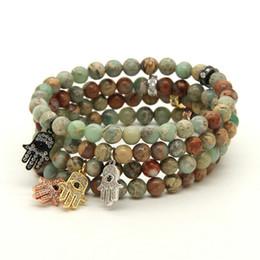 Wholesale Womens Jewelry 10pcs lot 6mm Natural Agalmatolite Stone with Micro Inlay Zircons Fatima Hand Hamsa Pendant Bracelets