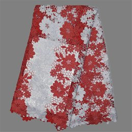 Charming African Cord Lace Cloth Water Soluble African Guipure Lace Fabric For Sewing EW107-3 White+Red