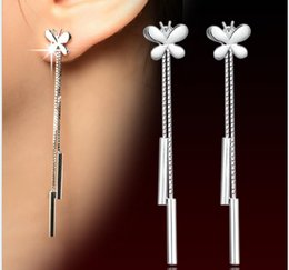 Wholesale Brilliant Silver Butterfly with Tassel Earrings Duet Bar Windchime Chandelier Earrings Hot Popular for Girl and Lady