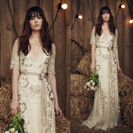 Wholesale New Arrival Custom Made Sheath Evening Dresses With Sash Sleeves Beads Rhinestone Sequines Jenny Packham Dresses Floor Length Prom Gown