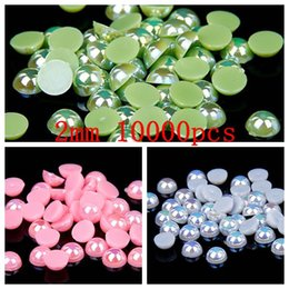 Wholesale 2016 New Half Round Pearls AB Colors Nails Art Decoration mm Flatback Beads For Jewelry Making DIY Crafts Decoration