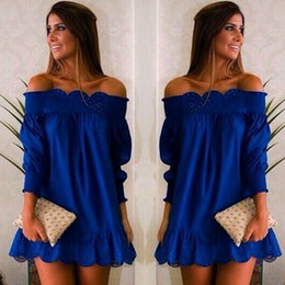 women summer dress 2016 ruffle plus size Sleeve Off Shoulder woman beach dress sexy party dresses Casual hollow out Lace dresses for women