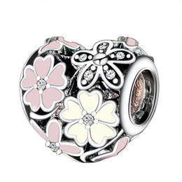 Wholesale Sterling Silver Charms Poetic Blooms Enamel CZ European Charm Beads Fit Snake Chain Bracelet DIY Original Jewelry