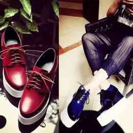 u432 34 genuine leather platform wedge oxford shoes blue maroon black white