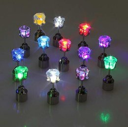 Crown Diamond Led Earrings LED Glowing Light Up Earrings Ear Studs Men Women Party Club Dance Gift 9 colors with box packaging