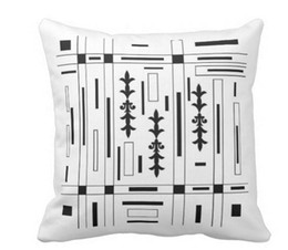 PILOW- BLACK AThrow Pillow Case ND WHITE BY ROSE CANAZZARO Square Sofa and Car Cushions Cover (16inch 18inch 20inch), Pack of X