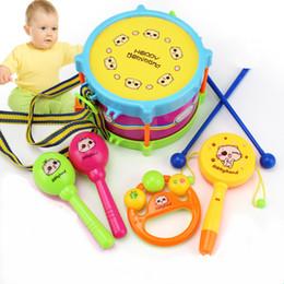 Promotion ensembles de batterie Unisexe Boy Girl New 5PC Tambour Instruments de musique Band Kit Handbells Kids Toy Gift Set