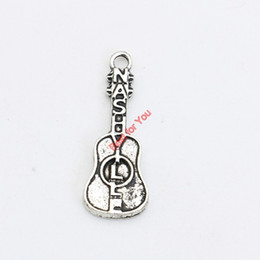 30pcs Tibetan Silver Plated Guitar Music Charms Pendant Bracelets Necklace Jewelry Making Accessories DIY 28x10mm