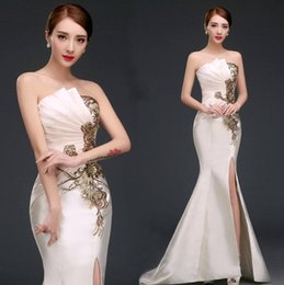 Wholesale Satin Mermaid Prom Dress - 2016 New Sexy Split Sides Evening Dresses Mermaid Strapless Sweep Train champagne Red Party Prom Gowns