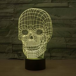 Amazing 3D Illusion Skull Light LED Table Desk Lamp Night Light With 7 Color Light HR-2815