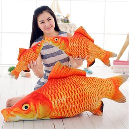 Wholesale Fancytrader New Stuffed cm Giant Goldfish Plush Toy Big Soft Animal Carp Good Luck Red Fish inches Doll Pillow Kids Gift