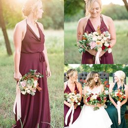 New Vintage Country Style Bridesmaid Dresses Burgundy Chiffon Long Maids Of Honor Halter Ruffled Evening Formal Gowns Cheap