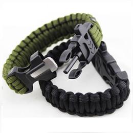 Wholesale Outdoor Survival Bracelets Flint Fire Starter Paracord Whistle Gear Buckle Camping Ignition Equipment Resure Rope Escape Bracelet Kit DG B01