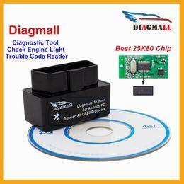 Wholesale Diagmall ELM327 V1 Bluetooth OBD2 Car Diagnostic Tool OBDII Autoscanner ELM V1 Code Reader Automotivo For Android Torque
