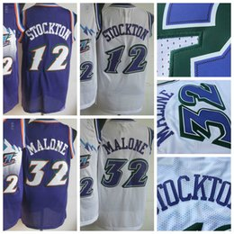 Wholesale Men Retro Karl Malone Jersey Uniform Rev New Material John Stockton Throwback Shirt Breathable Home Alternate Purple White