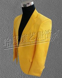 Men's fashion personality han edition night club singer star stage performance clothing costumes yellow jackets S - 5 xl