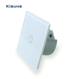 Crystal Glass Panel Switch Wall Switch EU Touch Switch Screen Wall Light Switch 1 gang 1 way 110~250V White for LED lamp kisuns