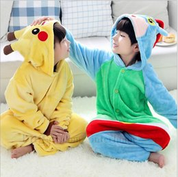 Wholesale Kids Pikachu Pajamas Animal Kigurumi Pyjamas Cosplay Christmas Costume Cartoon Poke Jumpsuits Baby Flannel Sleepwear Winter Onesies B796