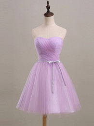 Low price 2016 new sweetheart strapless short paragraph purple graduation prom dress fashion sexy folds plus size bridesmaid dress