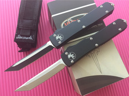 Wholesale Microtech Ultratech Tanto Knife double action CNC D2 steel Two tone Satin Plain T6 aluminum handle EDC Tactical knives with box