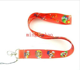 Hot Sale! Red Super Mario Lanyard Strap For ID Badge Mobile Phone Key chain Party Favour 30 pcs