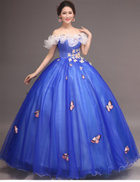 royal blue flower embroidery butterfly carnival ball gown medieval Renaissance Gown queen dress Cosplay stage solo belle ball