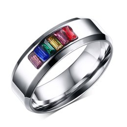 Free Laser Engraving 8mm Stainless Steel Fashion Crystal Rainbow Wedding Rings Gay Lesbian Jewelry