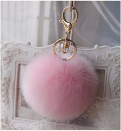 Wholesale 10CM Fluffy Fur pom pom Keychain Faux Fur Keychain Rabbit fur ball Key chain Keyring Gift Women bag Accessories