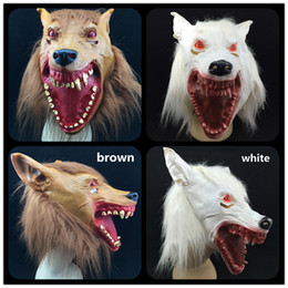 Halloween Party mask Bloody mouth Red Eye New Wolf Masks Scary Animal Mask Creepy Carnival Costume white brown color free shipping