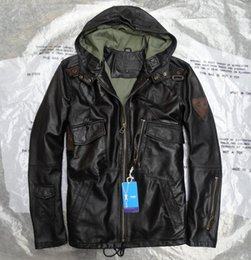 Wholesale Man Classic AVIREX Design hooded military style Long Leather Jackets Italy Lamb Motor jacket with YKK