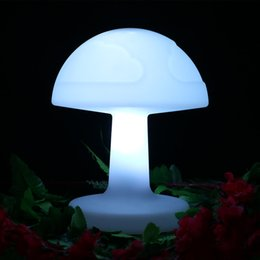 4 pcs lot Color changing rechargeable Plastic LED Mushroom desk table lamp remote control bedroom baby sleeping lighting