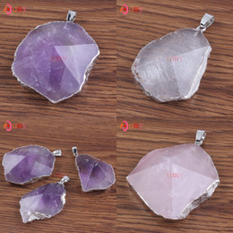 Wholesale 10Pcs Silver Plated Druzy Amethyst Rose Quartz Rock Crystal Section Irregular Shape Pendant Fashion Jewelry