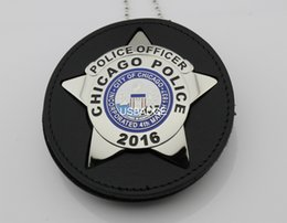 Wholesale US CHICAGO POLICE POLICE OFFICER BADGE WITH CUT OUT LEATHER HOLDER Brass