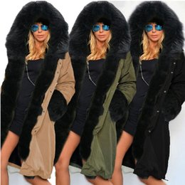 Manteau d'hiver véritable en fourrure en Ligne-Fourrure réel Veste d'hiver femmes Cagoule Manteau 2016 Brand New Fur Collar Army Green Casual long Slim chaud épais Femmes Parka Manteaux Veste