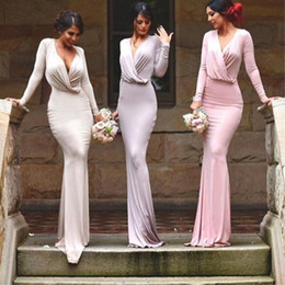 Classical White Pink Red Carpet Celebrity Dresses Mermaid Formal Evening Gowns V Neck Long Sleeves Pleats Bridesmaids Prom Dresses