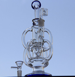 Wholesale Bong new big size glass bong water pipes incycler water pipes barrel recycler Recycler with two accessories mm joint