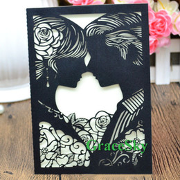 50pcs lot Free shipping Laser Cut Bride &Groom Paper Lace Hollow Out Wedding Anniversary Party Invitation Card with Inner Paper Blank Sheet