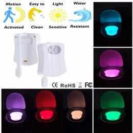 Wholesale Sound Sensor Activates Led - Colorful toilet night light motion activated,Bathroom Human Body Auto Motion Activated Sensor Seat Night Lamp 8-Color Changes