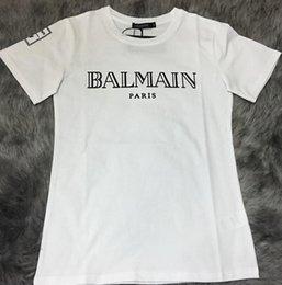 Wholesale 2016 Summer Balmain Pairs Men s Basic Logo Print T Shirt Gold BALMAIN PAIRS Typography Printed Tee Shirt Shipping Worldwide Transactions