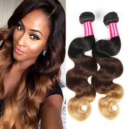 7A Brazilian Virgin Hair Body Wave 3 4pcs Ombre Hair Extensions Ombre Brazilian Hair Weave Bundles Human Hair Weaves Very Soft
