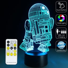 Wholesale 2016 R2D2 Robot Night Lamp D Optical Lamp RGB Lights Dimmable DC V AA Battery IR Remote Control Retail Box